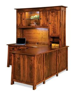 Amish Grant L Desk with Optional Hutch Top Amazing solid wood office furniture built by hand in choice of wood and stain. The L desk is a masterpiece for an executive office.