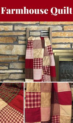 Farmhouse Quilt, rustic quilt, country quilt, minky, handmade quilt, rustic home decor, red quilt, rustic decor, soft minky backing #quilts #affiliate #rustic #rustichomedecorred