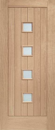 Siena Oak Obscure Glazed External Door - contemporary oak front door with vertical timber boards and 4 small square vision panels Frosted Glass Interior Doors, Interior Window Trim, Oak Interior Doors, Oak Front Door, Solid Oak Doors, Wooden Front Doors, Front Entry, External Front Doors, White Internal Doors
