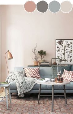New Living Room Inspiration Grey Pink Ideas Living Room Color Schemes, Paint Colors For Living Room, Living Room Colors, Cozy Living Rooms, Living Room Grey, Living Room Designs, Colour Schemes, Rooms Ideas, Bedroom Ideas