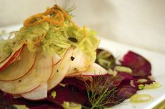 Shaved beetroot, apple & fennel salad with orange dressing