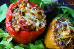 Slow Cooker Stuffed Bell Peppers (w/ optional vegetarian version)  Great Crockpot Meal!
