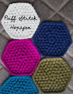 I think I may need lighter weight yarn next time or I'm not doing the puffy stitch right WEEKEND MAKES: PUFF STITCH HEXY Tutorial. I've already thought of at least 5 projects that could be done with these! Filet Crochet, Crochet Motifs, Crochet Blocks, Crochet Squares, Crochet Granny, Crochet Stitches, Crochet Patterns, Hexagon Crochet Pattern, Crochet Hexagon Blanket