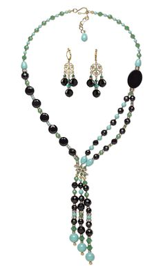 Jewelry Design - Double-Strand Necklace and Earring Set with Black Onyx Gemstone Beads, Swarovski Crystal and Gold-Finished Brass Drops - Fire Mountain Gems and Beads