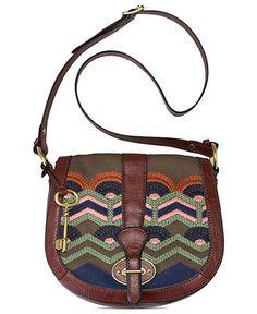 Fossil Handbag, Vintage Re-Issue Fabric Flap - Handbags & Accessories - Macy's $110