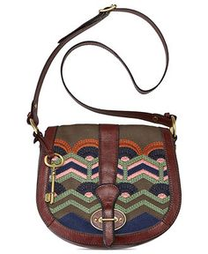 Fossil Handbag, Vintage Re-Issue Fabric Flap - Handbags & Accessories - Macy's $110