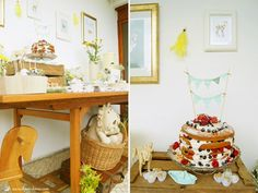 details for the dessert table for this vintage rustic party. embroidered animals has background