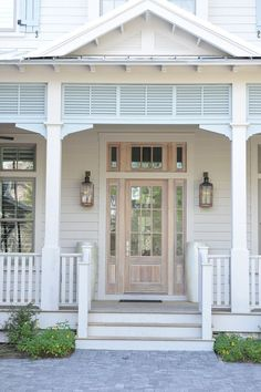 "Beach House with Transitional Coastal Interiors - ""Front Door"" Beach Cottage Style, Coastal Cottage, Beach House Decor, Coastal Living, Coastal Decor, Coastal Homes, Cottage Porch, Beach Bungalows, Nautical Home"