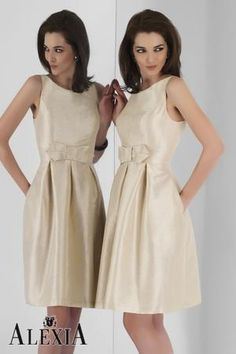 Alexia Bridesmaids 4112 Champagne poly shantung cocktail length dress featuring a pleated skirt with empire waistband and bow. Taffeta Bridesmaid Dress, Designer Bridesmaid Dresses, Beautiful Bridesmaid Dresses, Bridesmaid Dress Styles, Bridal Dresses, Flower Girl Dresses, Bridesmaids, Chiffon Dress, Mother Of The Bride Plus Size