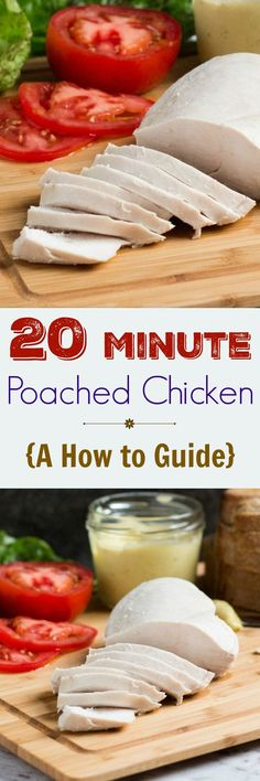 Poached chicken in 20 minutes. Great for lunchboxes, sandwiches or anywhere cooked chicken is needed. Easy Chicken Recipes, Real Food Recipes, Cooking Recipes, Healthy Recipes, Healthy Meals, Paleo Meals, Chicken Meals, Whole30 Recipes, Protein Recipes