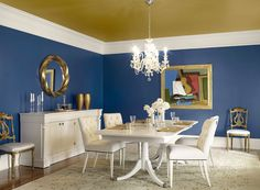 dramatic blue dining room - new york state of mind 805 (walls), tumeric AF-350 (ceiling), calm 2111-70 (trim)