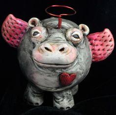 Hippo in Love Valentine Sculpture