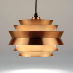 Danish Modern Pendant Hanging Lamp FOG & MORUP Carl Thore Copper Vintage 1960s
