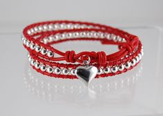 Chan Luu Style Red Leather And Silver Heart Wrap Bracelet - Valentines Day For Her