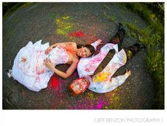 Trash the dress powder paint fight! I definitely want to do this for our one year anniversary!! How fun!