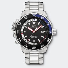 IW354703 REF 3547~ IWC Aquatimer Deep Two Water-resistant to 12 bar, Two indicators show current depth and the max depth reached in the course of the dive (down to 50 metres) on a white scale. The blue indicator moves to show the actual dive depth, while the red one remains static at the maximum depth attained during the dive.   MECHANICAL MOVEMENT  SELF-WINDING  42-HOUR POWER RESERVE  MECHANICAL DEPTH GAUGE  DIAMETER 46 MM. $16,000-ish