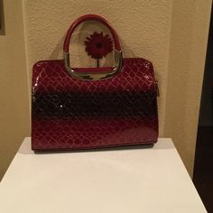 Purse Boutique Red and black ombré snakeskin like print purse with silver handles and a matching makeup or clutch bag with strap. Maybe used once.  Bags Mini Bags