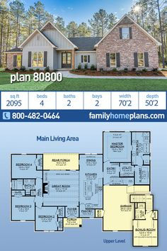 Country, Farmhouse, Traditional House Plan 80800 with 4 Beds, 2 Baths, 2 Car Garage Floor Plan 4 Bedroom, 4 Bedroom House Plans, Basement House Plans, Family House Plans, Ranch House Plans, Craftsman House Plans, Country House Plans, New House Plans, Modern House Plans