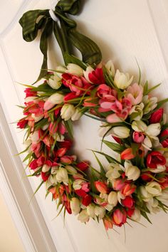 Spring  Fields of Pink Tulips  Wreath  Ribbon by bellabeadboutique