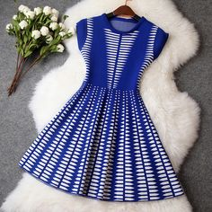 Knitted Dress in Blue and White #blue #blue-and-white #bridemaid #dress #graduation-dress #knitted-dress #lace-dress #prom-dress #vintage #white