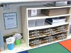 writing area with ideas, clipboards, dry erase markers, etc. separate from writing table.