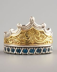 Sure to become the crown jewel of your collection, this London blue topaz and mixed metal Konstantino crown ring was hand-crafted in Athens using the ancient engraving and etching techniques found in early Greek jewelry.
