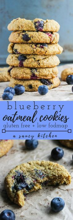 Less than ten ingredients and about 20 minutes needed to make these soft and chewy Oatmeal Blueberry Cookies. Dairy free option and low FODMAP Cookies Gluten Free, Gluten Free Baking, Gluten Free Desserts, Dairy Free Recipes, Vegan Desserts, Baking Recipes, Cookie Recipes, Cookies Vegan, Low Sugar Cookies