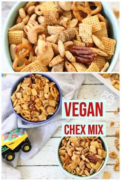 Make your own delicious homemade vegan Worcestershire sauce as a part of this vegan chex mix recipe! This vegan Chex mix is slightly tangy, a tiny bit spicy, and totally irresistible to everyone - kids and adults alike! Vegan Party Food, Healthy Vegan Snacks, Vegan Appetizers, Vegan Recipes Easy, Vegan Ideas, Vegetarian Snacks, Vegan Keto, Vegan Foods, Healthy Tips