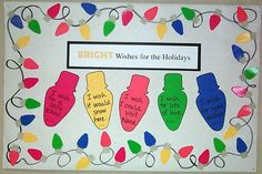 Bulletin Board Ideas: New Year.    Notes: use real Christmas lights around the board.