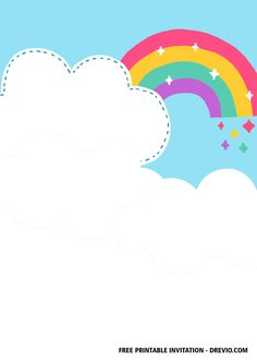 Free FREE Rainbow Party Invitation Templates #free #freeinvitation2019 #birthday #disney #invitations #invitationtemplates #rainbow Free Party Invitation Templates, Rainbow Birthday Invitations, Free Printable Birthday Invitations, Rainbow Birthday Party, Rainbow Theme, Templates Free, Disney Invitations, Twin Birthday Parties, Kids Background