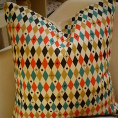 1950s Harlequin Fabric Cushion (made by Little Sally Waters)