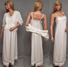 VINTAGE w/TAGS AMARETTA COTTON LAWN NIGHTGOWN PEIGNOIR ROBE LINGERIE SET LACE BED COAT #SomeLikeItUsed