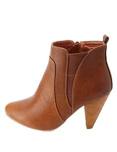 In black!  Elasticized Cone Heel Ankle Boots #charlotterusse #charlottelook