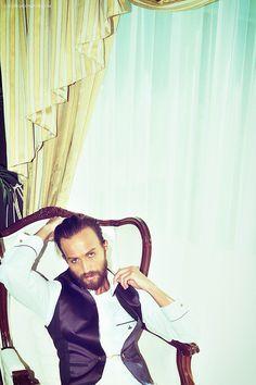 Him: Shirt, trousers & waistcoat by Vivienne Westwood Man.