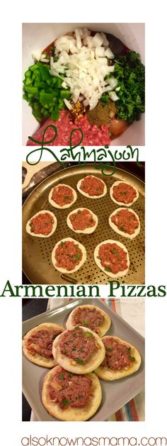 Lahmajoon: Armenian Pizzas - also known as mama - - Here's my take on a family favorite. Lahmajoon are the perfectholiday appetizer and have always been a tradition in my family. Around the holidays, I Read More. Armenian Recipes, Lebanese Recipes, Armenian Food, Armenian Culture, Middle Eastern Dishes, Middle Eastern Recipes, Meat Pizza, Kebab Recipes, Easy