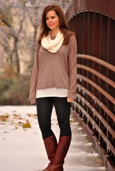 Winter leggings outfit - black and brown, leggings, cognac boots, sweater and scarf.