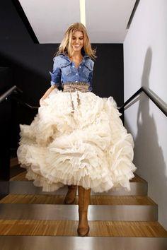 Denim with layered cream skirt- love!   # Pin++ for Pinterest #