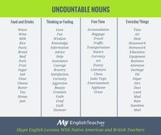 Uncountable Nouns in English. Words without plural form. English Tips, English Class, English Lessons, Learn English, English Vocabulary, English Grammar, Teaching English, English Language, Second Language