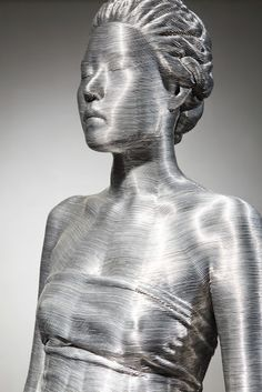 """Han Hye yeon"" (2011), by Seung Mo Park. Aluminum wire, fiberglass life casting."