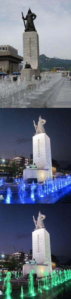광화문 광장 / 이순신장군/ 야경  square Gwanghwamun / Admiral Yi Sun-shin  night view in Korea