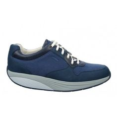 Men's Said Denim Blue/White : A classic runner silhouette enhanced with MBT movement technology. A mixture of canvas, nubuck and full grain leather uppers finished with a textile footbed, our patented rocker sole and non-marking outsole.