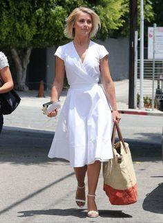 crisp white A-line dress. love it. Julianne Hough
