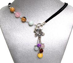 Natural Gemstones Rose Quartz Amazonite Aragonite Necklace Flower Focal Black Cord by BeautyandtheGems on Etsy