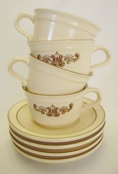 Pfaltzgraff Village Pattern Flat Cup and Saucer by EclecticGals, $19.99