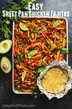 Looking for a simple, healthy chicken dinner idea? These Sheet Pan Chicken Fajitas are an amazing option! Loaded with fresh bell peppers and onions a. Baked Chicken Fajitas, Recipe For Chicken Fajitas, Oven Fajita Recipe, Chicken Sheet Pan Recipe, Chicken Sheet Pan Dinners, Oven Baked Fajitas, Chicken Enchiladas, Healthy Chicken Dinner, Baked Chicken