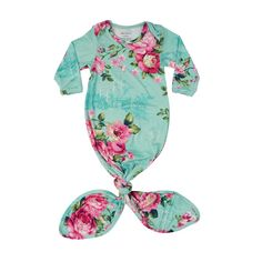 1a384cdc319 Floral Aqua makes for the perfect buttery soft layette gown. Featuring our  new mermaid knot