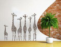 Wall Decal Giraffe Animals Jungle Safari African Kids Children Nursery Baby Bathroom Vinyl Sticker Wall Decor Murals Wall Decals