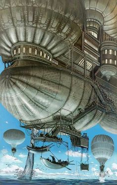 Airships on a fishing expedition, steampunk / fantasy setting inspiration Steampunk Kunst, Steampunk Airship, Dieselpunk, Steampunk Fashion, Steampunk Artwork, Steampunk Design, Sci Fi Fantasy, Fantasy World, Zeppelin