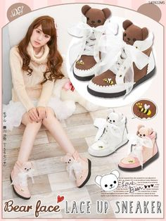 Cute Harajuku Womens Bears Lace-up Sport Shoes AMO Bees Kawaii Lolita Sneakers