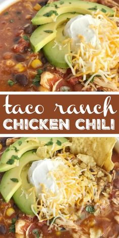 Taco Ranch Chicken Chili ~ you'll love this taco ranch chicken chili that cooks in the slow cooker all day! Tender chicken loaded with vege. Chilli Recipes, Mexican Food Recipes, Crockpot Recipes, Chicken Recipes, Dinner Recipes, Cooking Recipes, Healthy Recipes, Recipe Chicken, Soup Recipes